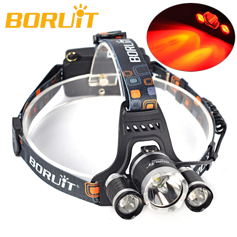 BORUIT 3 Modes LED Headlamp 18650 Battery T6 White+2R5 Red Light Rechargeable Head Light For Camping Fishing Hunting Bicycle baseball bat led flashlight for security and self defense xml t6 ultra bright 4000lumens baton torch use 4 aa battery