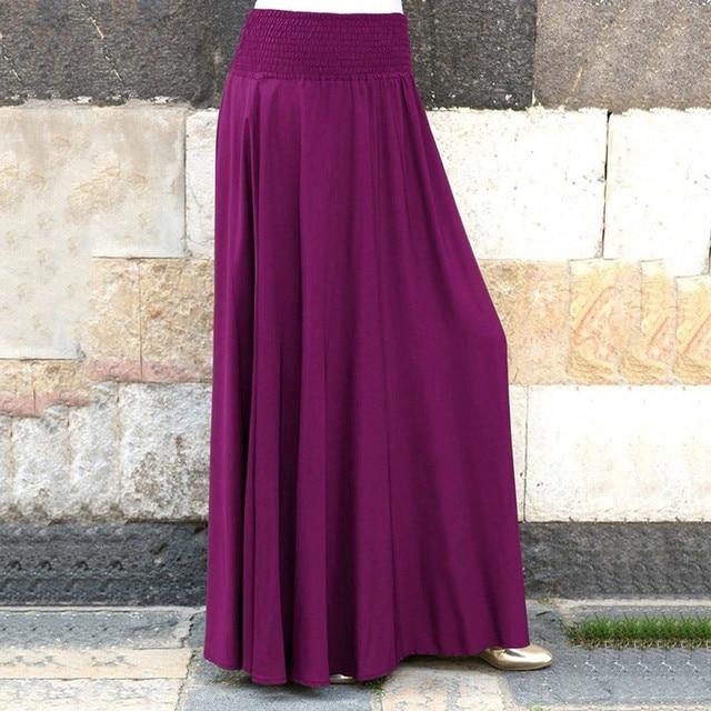 Fashion Women's skirt skirts womens jupe femme faldas mujer moda Elastic Waist Solid Pleated Vintage A-line Loose Long Skirts Z4 2