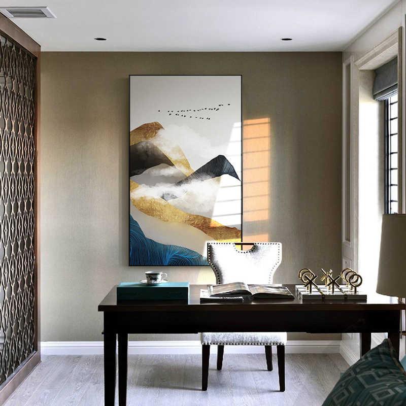 Abstrait Doré Montagne Blanc Nuage Toile Peintures Mur Art Photo Pour Salon Décoration De La Maison Affiches Et Impressions Modernes