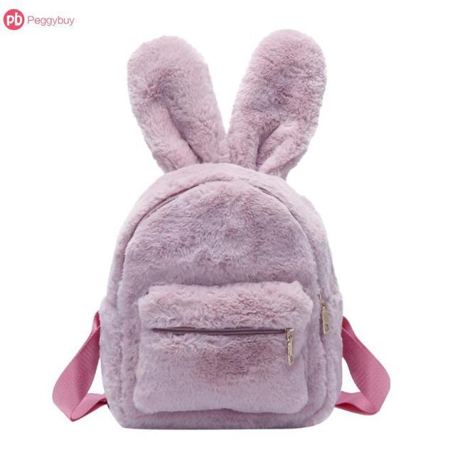 Multi-Solid-Colors Cute Faux Fur Mini Backpack Rabbit Ear Shape Women Travel  Plush 899fb02fa4e63