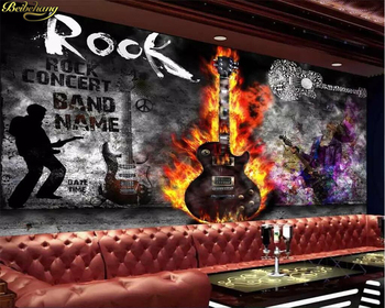 beibehang Custom wallpaper mural guitar rock KTV music bar tooling wall papers home decor papel de parede 3d wallpaper custom 3d mural 3d stereo personality ktv bar background wall mural wallpaper graffiti music symbol mural for ktv bar