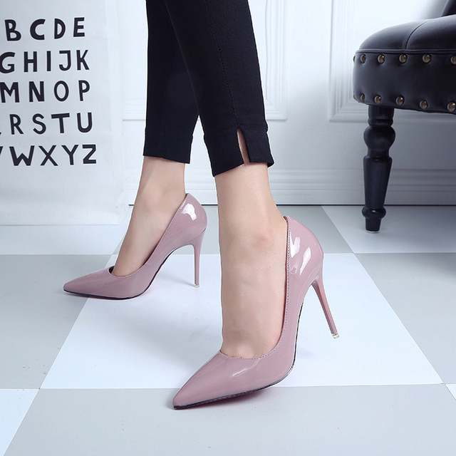 10cm size 34-40 Pointed Toe women banquet Pumps lady Wedding Party Shoes leather Casual Canvas dancing party high heels G13