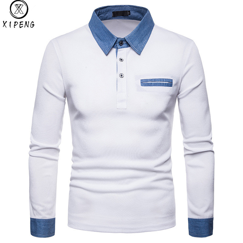 Denim Patchwork   Polo   Shirt Men Long Sleeve Turn-down Collar Mens Breathable   Polos   Shirt High Quality Camisa   Polo   Masculine Homme