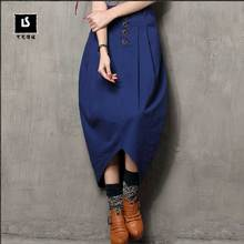 2017 Women 's summer new irregular skirt retro cotton single breasted skirt X3511