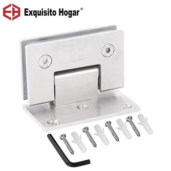 Puerta de cristal, baño, acero inoxidable, 304, montaje en pared, Clip de fijación de vidrio, ducha, cepillo de níquel, bisagra de puerta (90 grados está abierto)