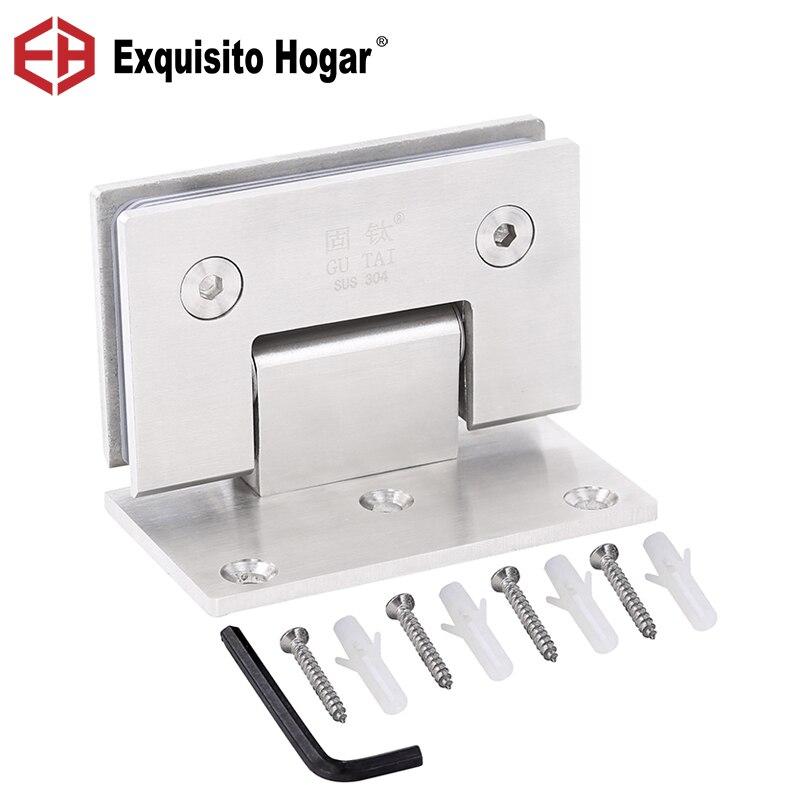 Puerta de vidrio, baño, acero inoxidable, 304, montaje en pared, ducha de vidrio negro, bisagra de puerta de cepillo de níquel (90 grados está abierto)