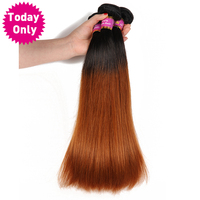 Today Only Ombre Brazilian Straight Human Hair Bundles Remy Hair Extensions Tow Tone Hair Weaves 1b