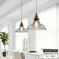 Modern Glass Pendant Lights Industrial Edison Pendant Lamp Bar Restaurant Light Transparent Amber Glass Retro Lamparas