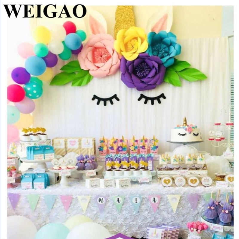 Weigao Diy Birthday Party Paper Flowers With Unicorn Eyelashes Horn
