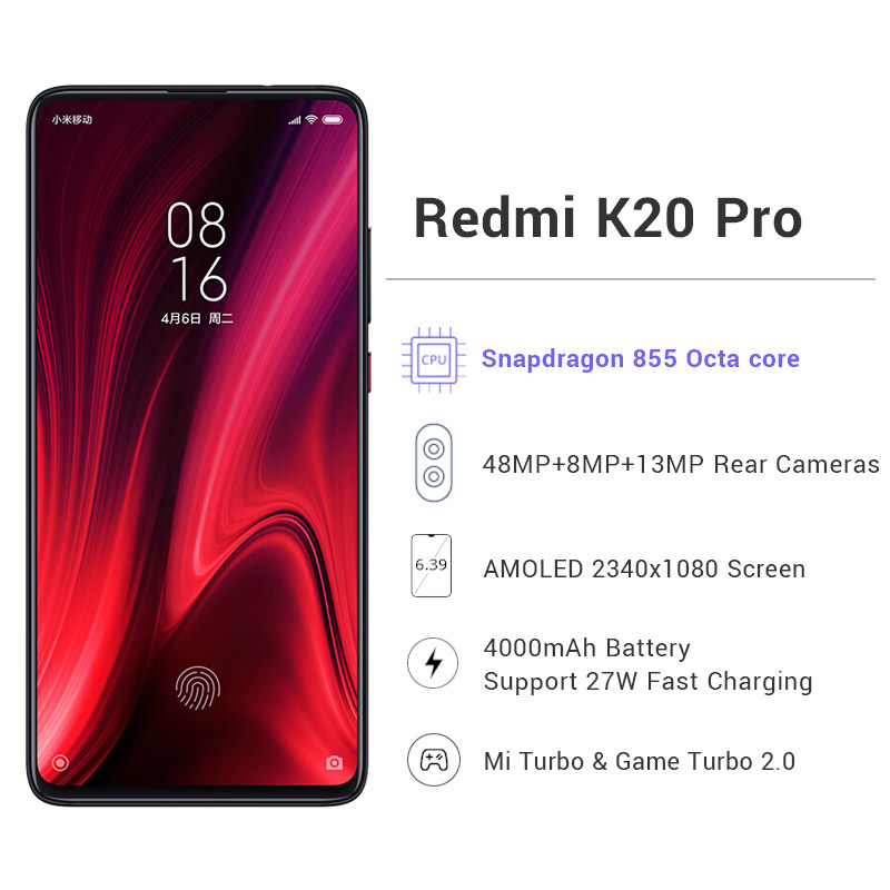 "Image 4 - Global ROM Xiaomi Redmi K20 Pro  64GB ROM 6GB RAM Phone Octa Core Snapdragon 855 4000mAh  Front 48MP Rear Camera AMOLED 6.39""-in Cellphones from Cellphones & Telecommunications"