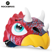 ROCKBROS Bicycle Cycling Helmets For Child Cartoon Mtb Road Bike Helmet Safety Kids Toddler Pulley Dinosaur Ciclismo Helmets