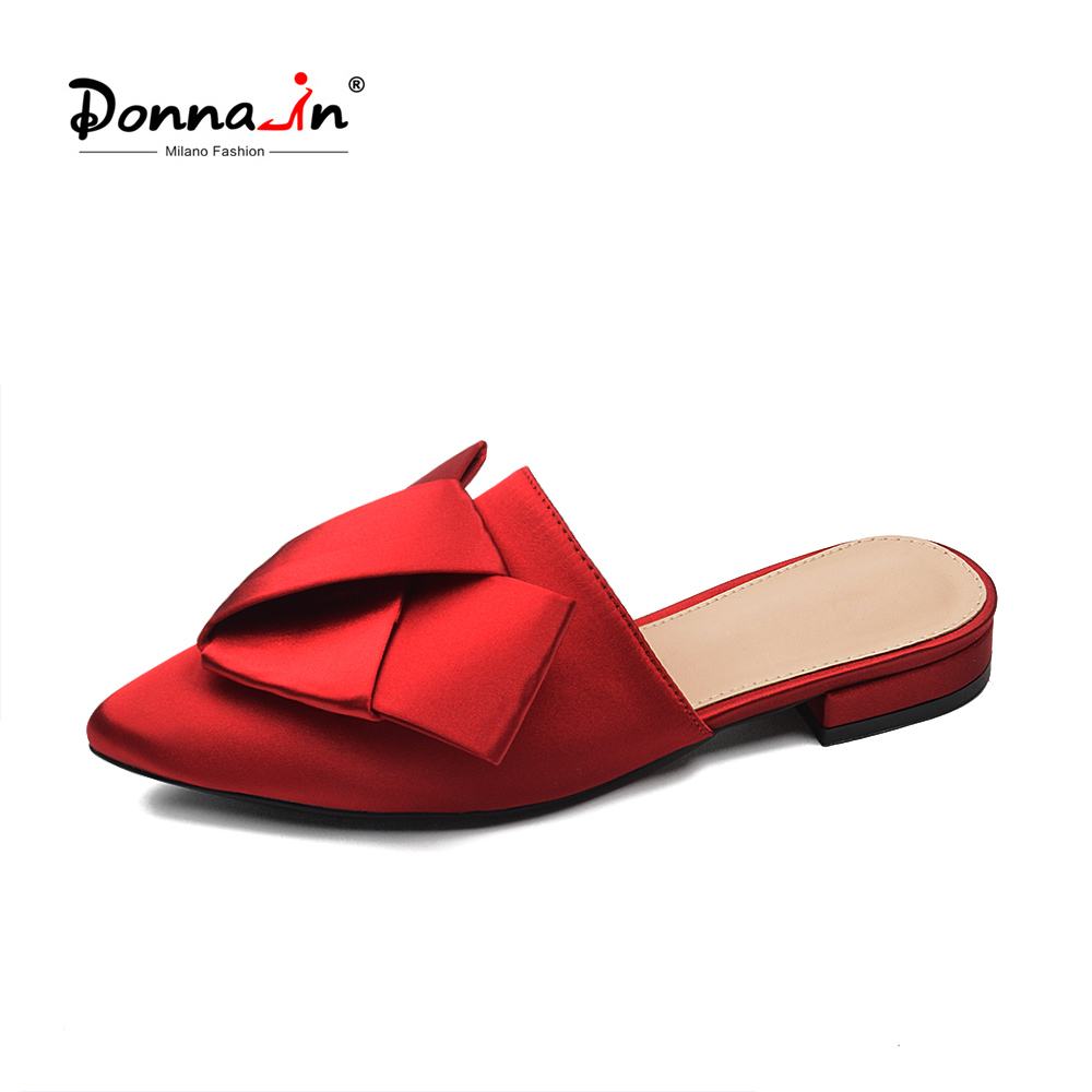 Donna-in Brand Mules Pointed Toe Slippers Butterfly-knot Beach Red Slides Fashion Flat Outside Female Summer Women Shoes 2018 недорго, оригинальная цена