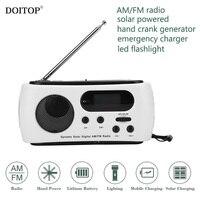 DOITOP Portable Outdoor Camping Hiking Multi Radio Hand Power Generator Solar Charging Charger FM AM Radio