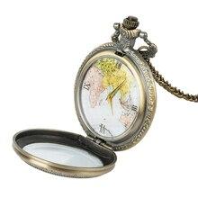 New Pocket Watch Elegant Retro Large Map Design Pocket Watch Necklace Chain Clock milan pocket map