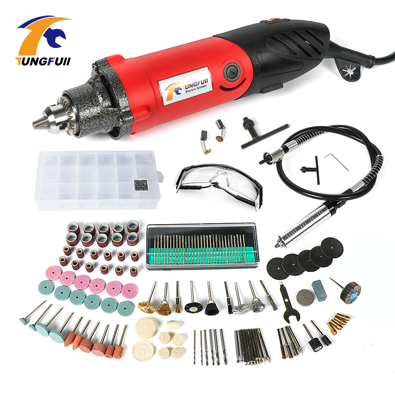Tungfull Mini Drill Tools Grinder Flex Shaft Machine Drilling Machine Electric Engraver Dremel Rotary Tool Accessory Set 220v mini electric drilling machine variable speed micro drill press grinder pearl drilling diy jewelry drill machines