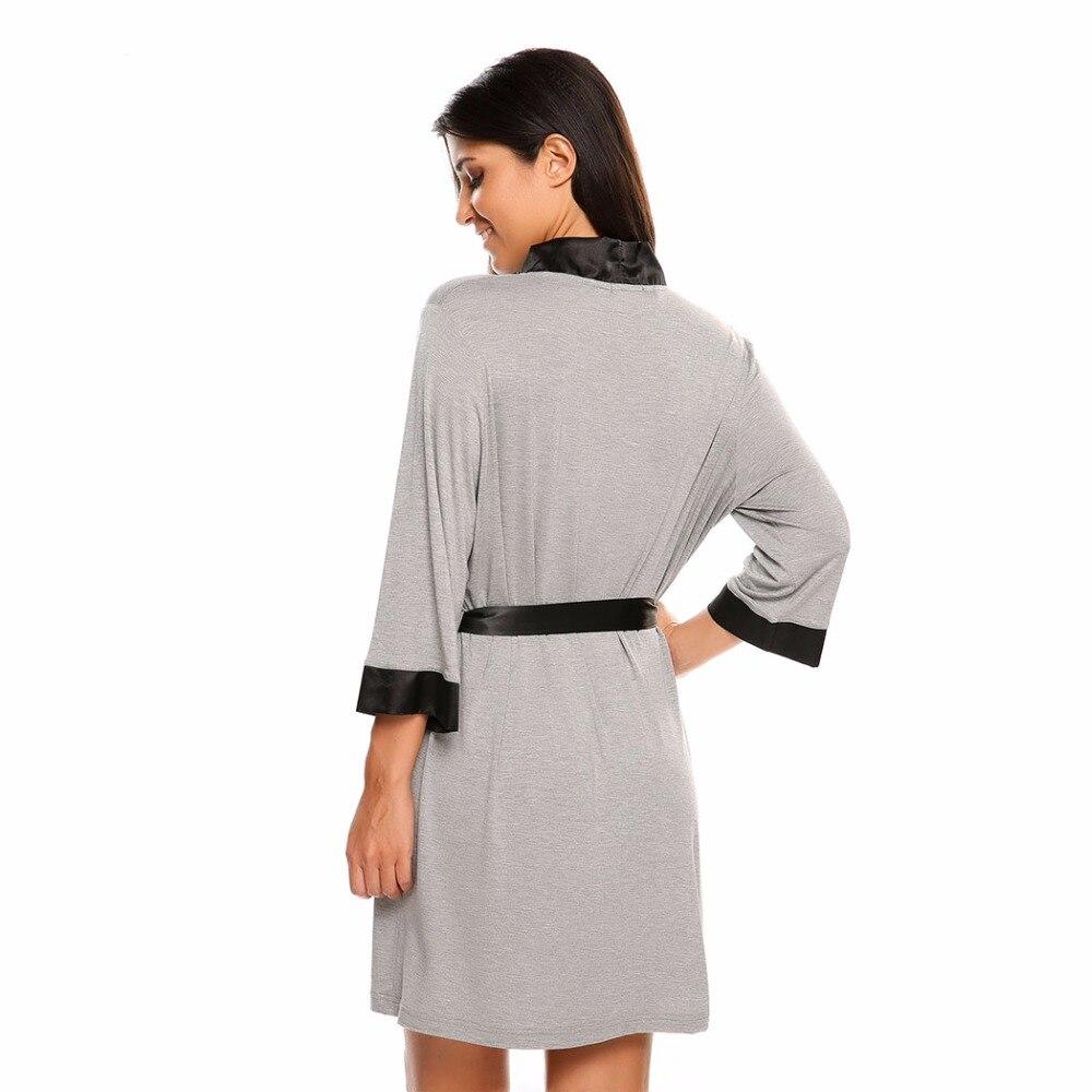 3ada4a35b0 Summer Sexy Dressing Gown Women 3 4 Sleeve Short Kimono Bathrobe Spa Robe  Sleepwear Homewear Night Sleep Wear Peignoir Femme XXL-in Robes from  Underwear ...