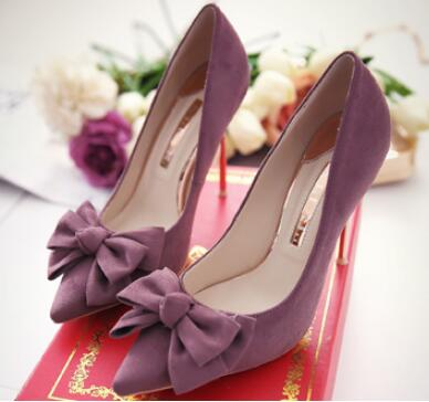 2018 popular purple solid pointed toe high heel pumps for women Ladies butterfly-knot thin heel shoes shoes High heels