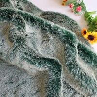 Luxury Blackgreen Plush Fabric Ultra Soft Fluffy Long Hair Faux Fur DIY Garment Fabric