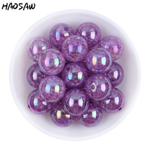 Image 2 - 20MM 100Pcs/Lot Fashion Choose Color Gumball Bubblegum Acrylic Clear AB Crack Beads Colorful Chunky Beads For Necklaces Jewelry