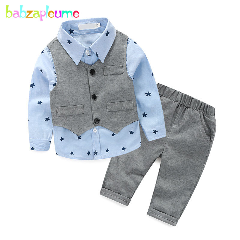 3PCS/0-2Years/Spring Autumn Baby Boys Clothes Gentleman Suit Vest+T-shirt+Pants Newborn Clothing Set 1st Birthday Outfits BC1169 new 2018 spring fashion baby boy clothes gentleman suit short sleeve stitching plaid vest and tie t shirt pants clothing set
