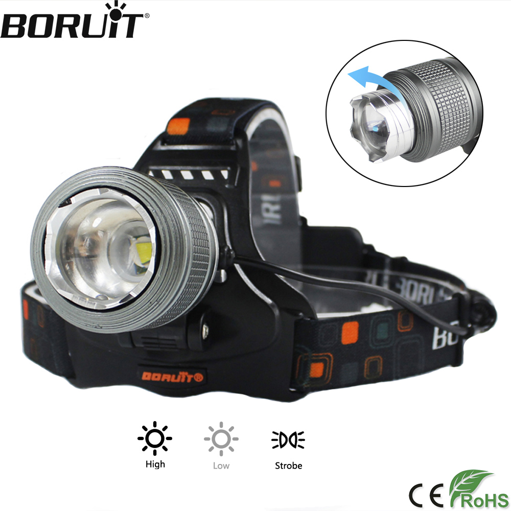 BORUiT 2000LM XML T6 LED Headlight 3-Mode Zoomable Headlamp IPX4 Waterproof Head Torch Camping Hunting Flashlight 18650 Battery фонарик xml t6 838 2000lm e6