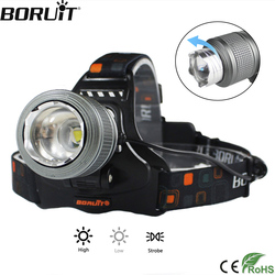 BORUiT 5000LM XML T6 LED Headlight 3-Mode Zoomable Headlamp IPX4 Waterproof Head Torch Camping Hunting Flashlight 18650 Battery