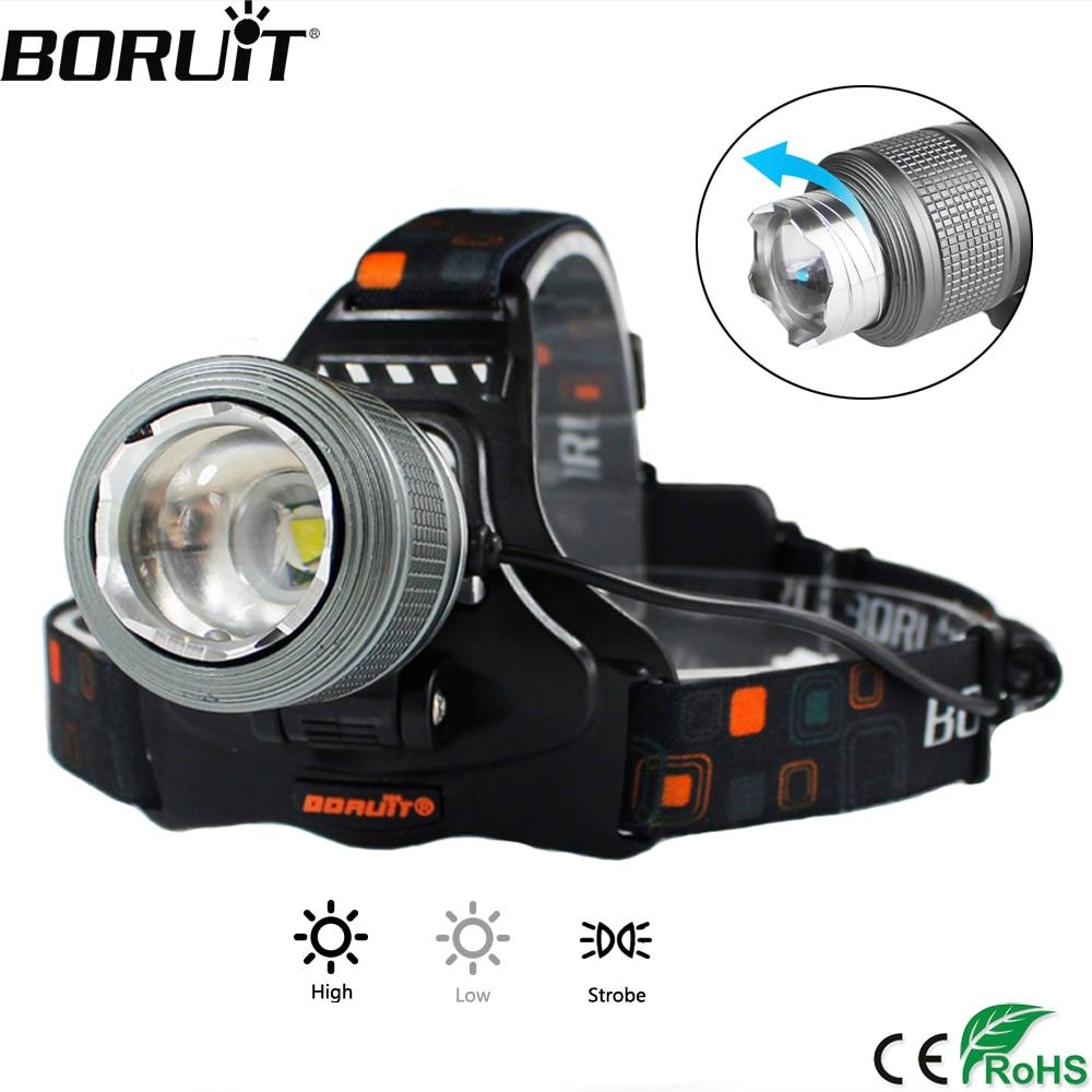 BORUiT 5000LM XML T6 LED faro 3 Modo Zoomable Faro de IPX4 impermeable linterna Camping caza linterna 18650 batería