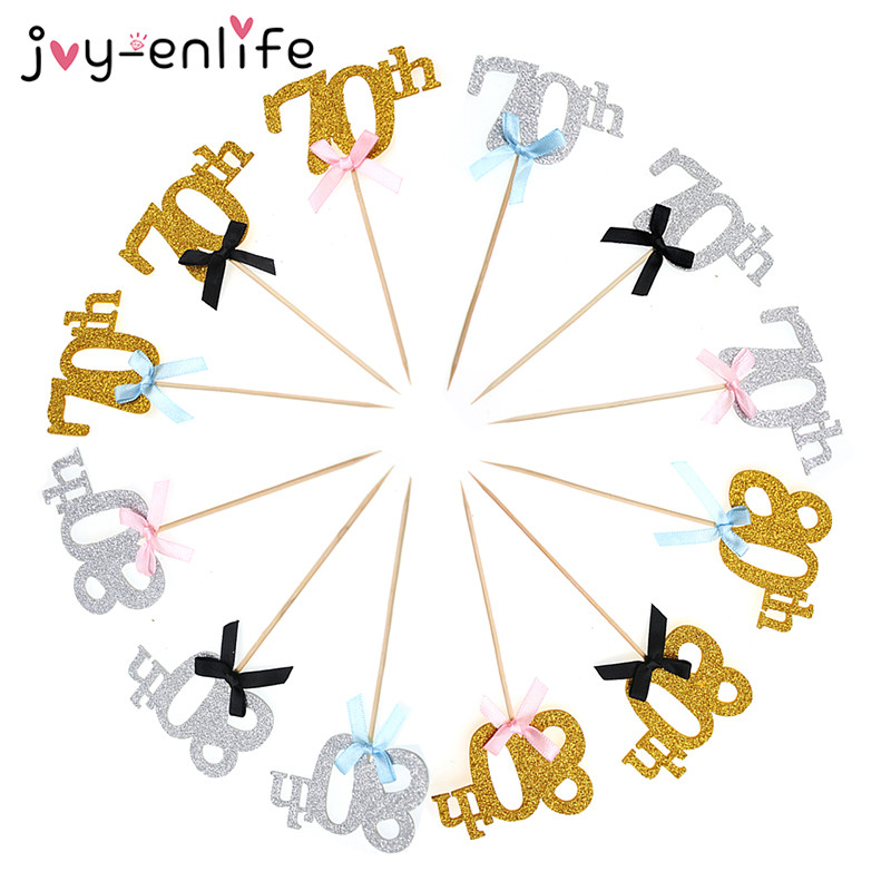 JOY ENLIFE 10pcs Gold 70th 80th Years Mother And Father Birthday Cake Toppers Party Decor Wedding Anniversary Cupcake Supplies