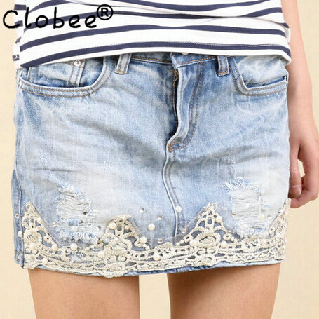 Lace and Denim Skirt