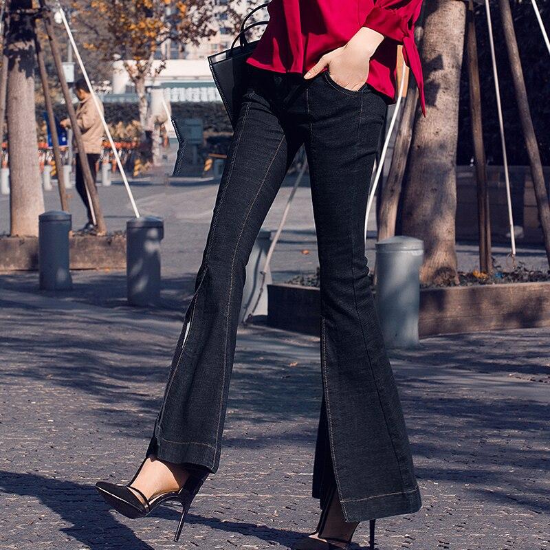 Solide Cloche Femmes Casual Pantalon Jeans Nouveau Mi Bas Printemps 2018 Bleu Automne Longue Taille W1204 Flare Split Denim Mince qgSFXfw