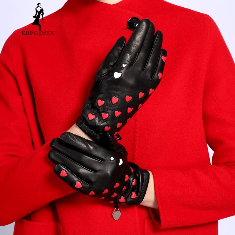 New Fashion Leather Gloves Women Genuine Leather Popular Heart Pattern Leather Gloves EBPO MEX Gloves