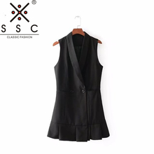 Autumn and Winter Women's Black Long Vest Fashion Office Lapel Slim Cropped Top 2018 New Sleeveless Pleated Skirt Suit Vest F122