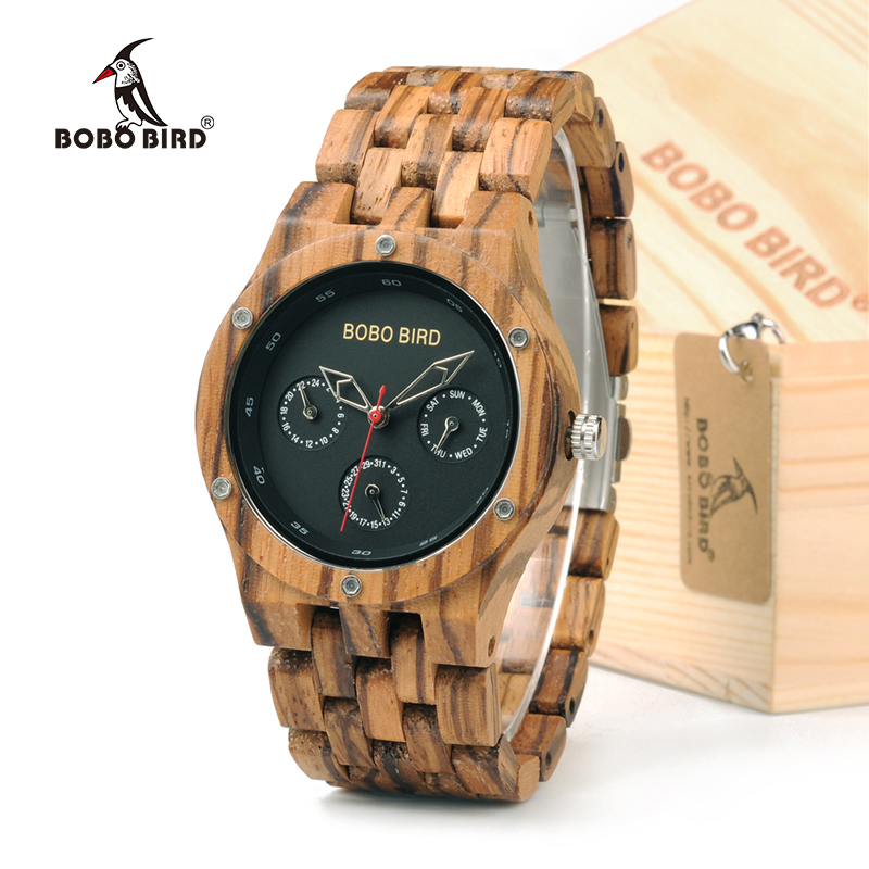 BOBO BIRD N11 Handmade Men s Top Brand Zebra Wooden Watch Lightweight With Date Retro Wrist