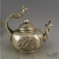 China Piatto D'argento Da Collezione Vecchio Rame Lavoro Manuale Uccello Re Fenice Teiera