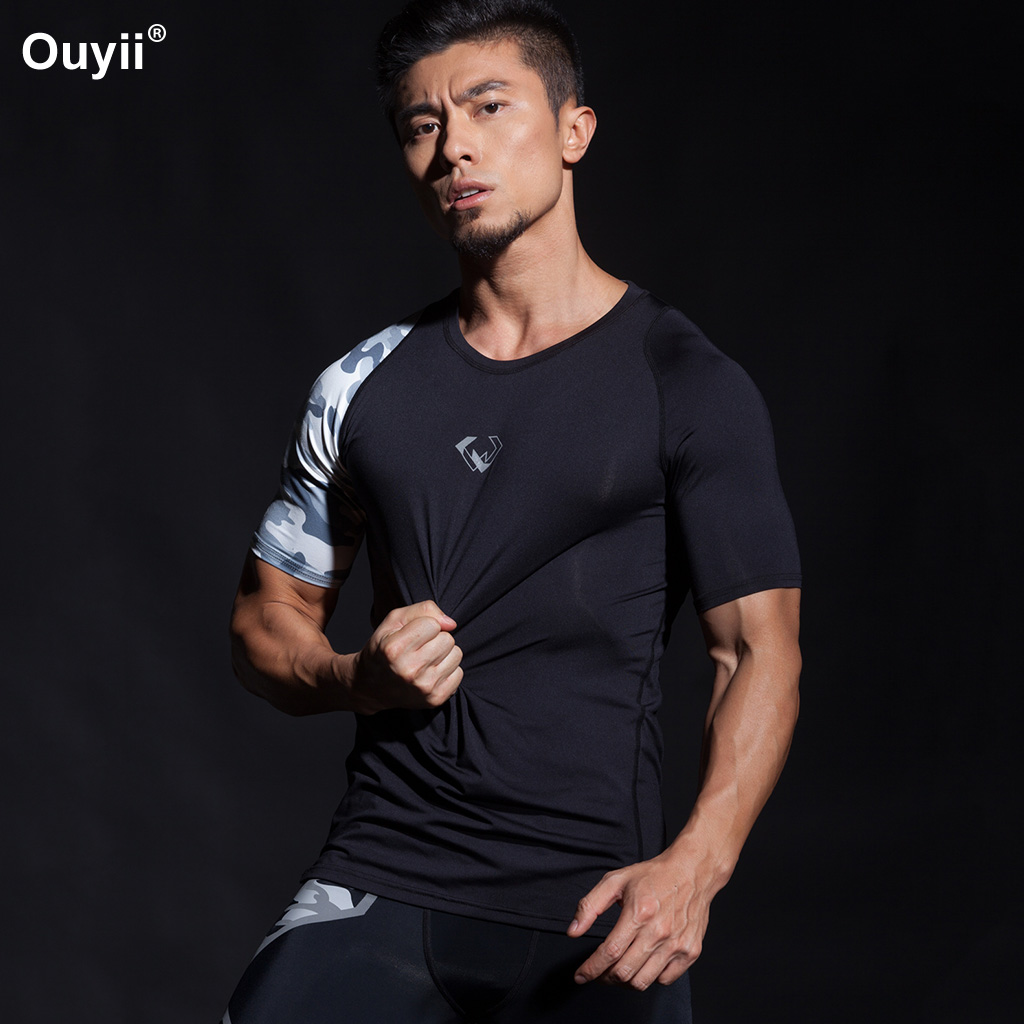 Compression T-shirt Men Fitness Sport T-Shirt Camouflage Short Sleeve Sport Shirts Tight Gym Fitness Running Training Sportswear