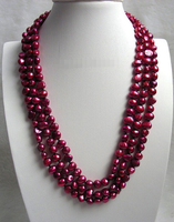 Free Shipping AT330 XF2 A Baroque 3row Wine Red Freshwater Pearls Necklace J7338 A