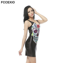 FCFCCEXIO 2017 New Gothic Style Punk 3D Printed Skull Tank Dress Very Well Stretchy Women's Black Sleeveless Bodycon Mini Dresse