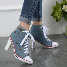 Women Canvas Shoes Denim High Heels Rivets Square heel 8CM Fashion Shoe Laces Sneakers Short Womens Pumps