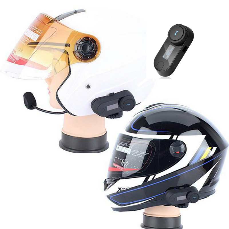 Portable Motorcycle Helmet Headsets Bluetooth Motorcross Helmets Interphone Walkie Talkie With LED FM Radio For All Helmet 2pcs e6 wireless full duplex helmet intercom bt interphone 1200m motorcycle bluetooth helmets headset walkie talkie for 6 riders