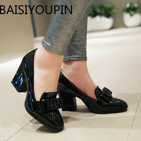 2018 Europe and America All match Bow Thick Heels Women's Shoes High Heels Patent Leather Black Work Shoes Plus Big Size 42 43