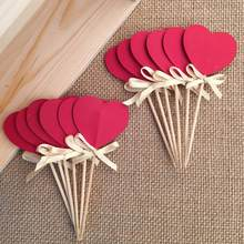Bow&Double-Sided Red Heart Cupcake Toppers,Bridal Shower/Valentine Day/Wedding Party Decoration Favors Cake Decorations Picks