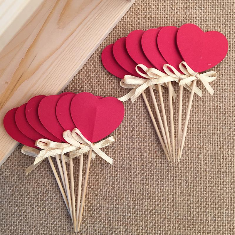bow double sided red heart cupcake toppers bridal shower valentine day wedding party decoration. Black Bedroom Furniture Sets. Home Design Ideas