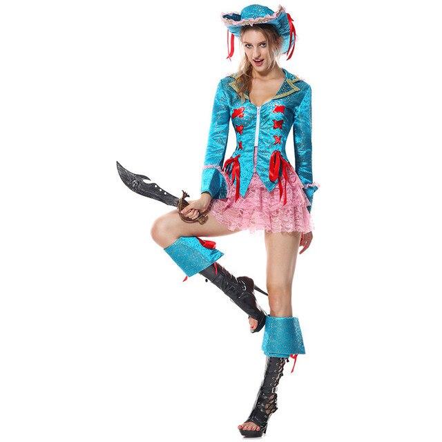 00a9301d8e1b1 Luxueux Bleu Brocade Veste Rose Dentelle Jupe Set Pirates des Caraïbes  Cosplay Vêtements Halloween Reine Cosplay