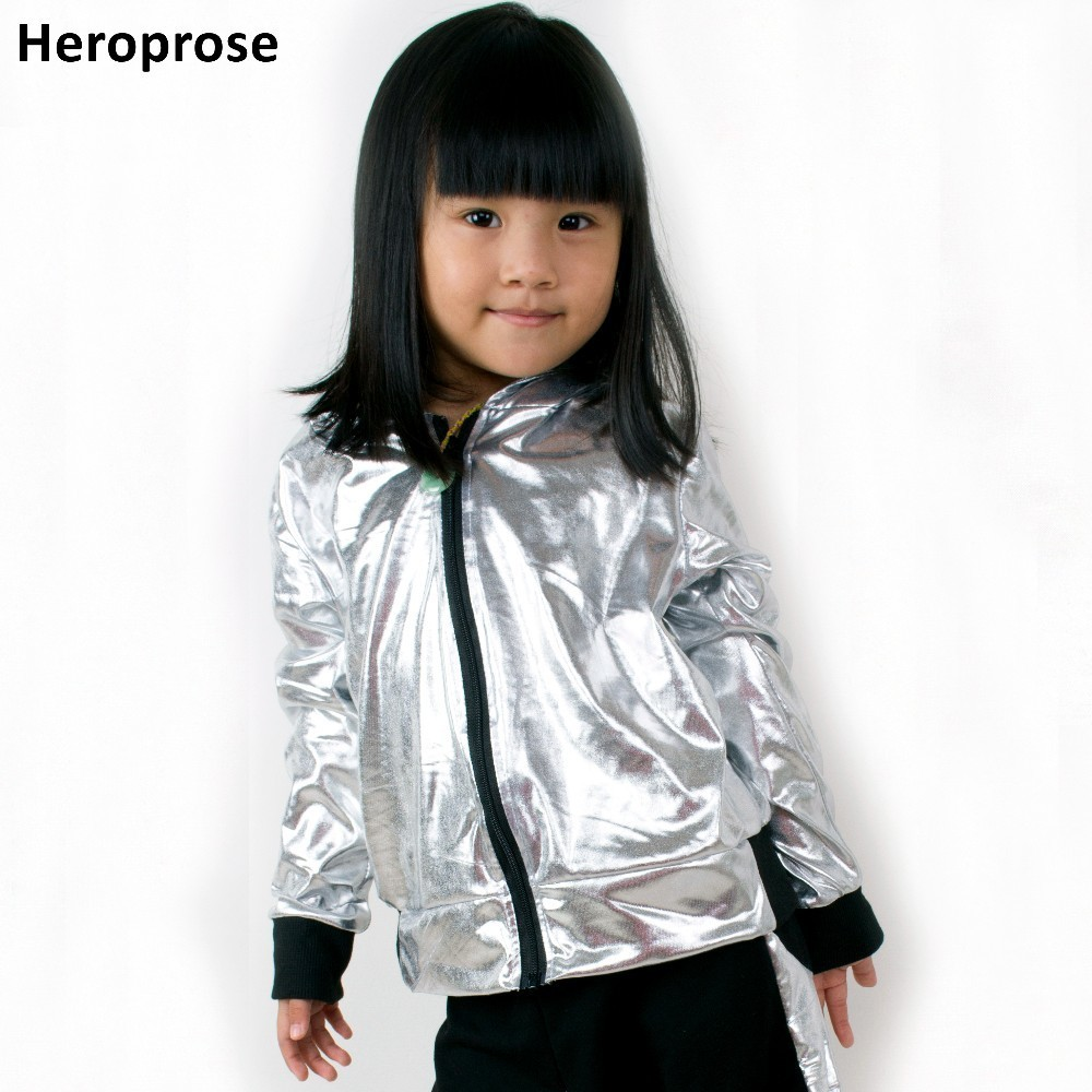 Heroprose Girls Boys Silver Ballroom Jazz Hip Hop Dance Competition Coat Kid Clothing Clothes Dancing Stage Performance Jacket