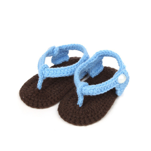 f280930e43bcc ... Flip flop Sandals Crib Crochet Baby Girls Boys Handmade Knit Sock Clip  Toe Infant Shoes-in Slippers from Mother   Kids on Aliexpress.com
