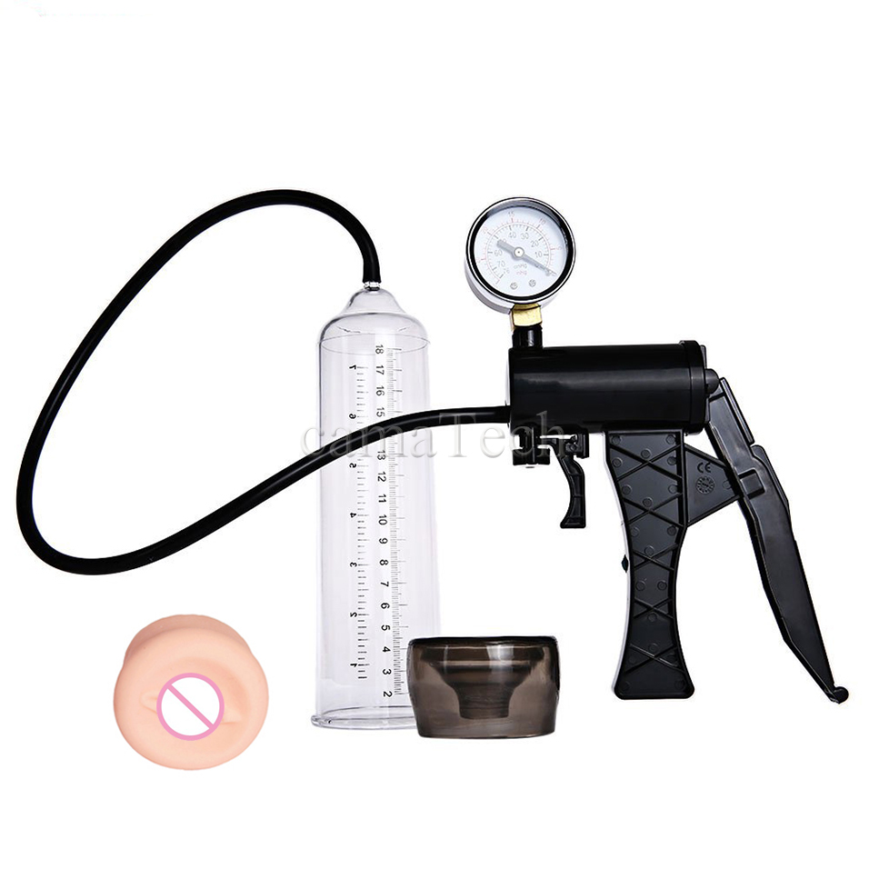 camaTech Male Pistol Penis Pump Enlarger Enlargement With Master Pressure Gauge Dildo Erection Enhancer Vacuum Sleeve Sex Toys 10