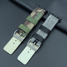 Canvas leather watch band for iWatch 38mm 42mm Camouflage army