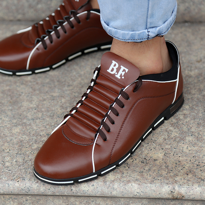 New Spring Men Casual Shoes Fashion Leather Shoes For Men Loafers Black Lace-up Men's Flat Shoes Big Size Dropshipping
