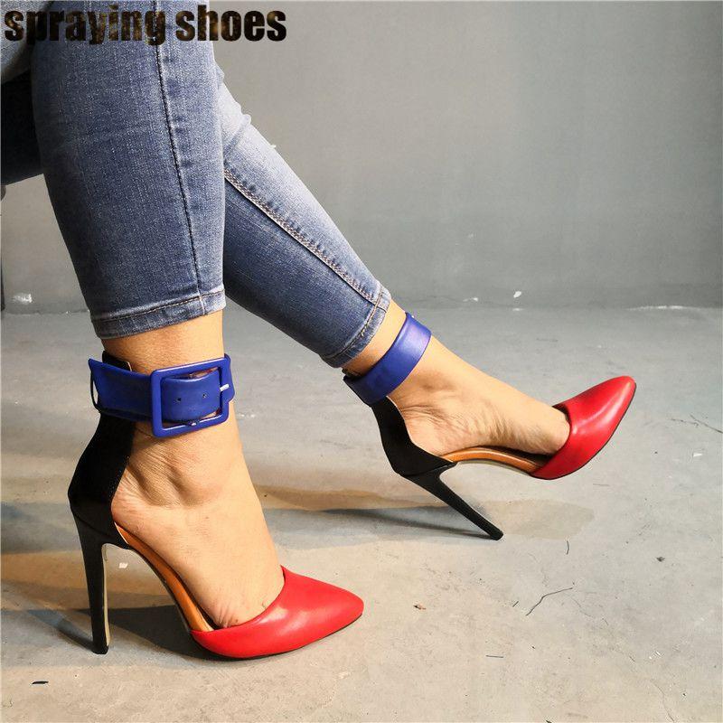 Модные разноцветные кожаные женские босоножки на высоком каблуке летние женские туфли лодочки с острым носком и ремешком на щиколотке пикантные вечерние туфли на шпильке - 2