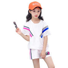 Fashion Kids Girl Clothes Set Sportswear Summer Baby Colorful Striped Tshirt Shorts 2Pcs/sets Children Outfit Cotton Tracksutis 2019 baby clothes set best quality 100% cotton summer kids clothes striped baby boy and girl clothes children sets tshirt